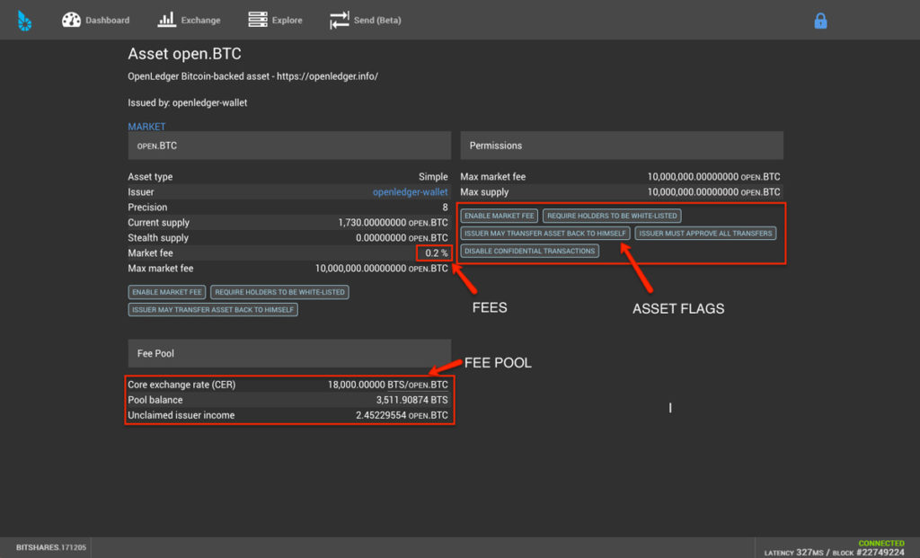BitShares DEX user interface screenshot showing information for asset open.BTC